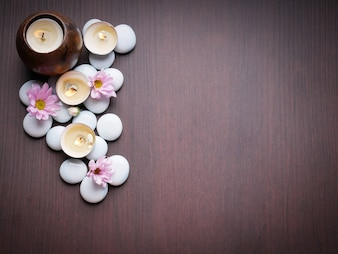 Spa theme concept candle stone nature flower bamboo