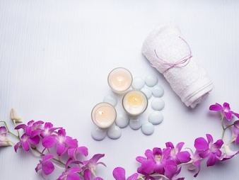 Spa theme concept candle stone nature orchid flower bamboo