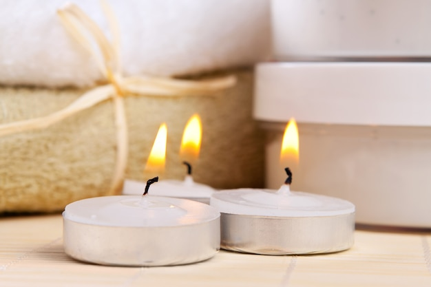 Spa therapy: three burning candles