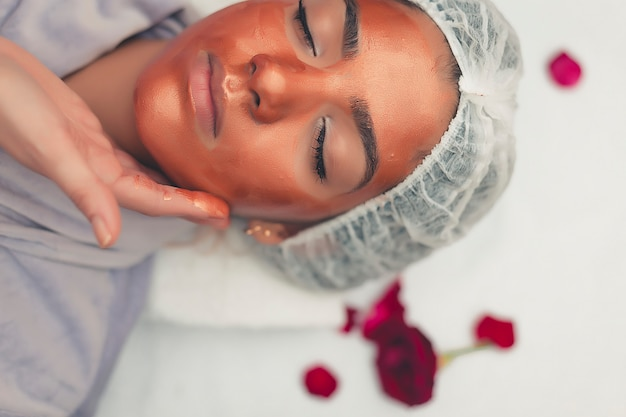 Spa treatment skincare face. face professional massage. health facial masseur.