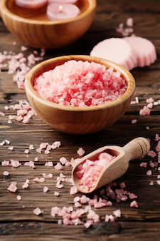 Spa treatment with pink salt