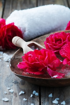 Spa treatment with roses and salt