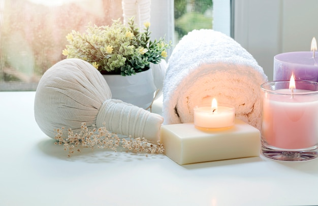 Spa treatments set on white table, beauty and spa concept.