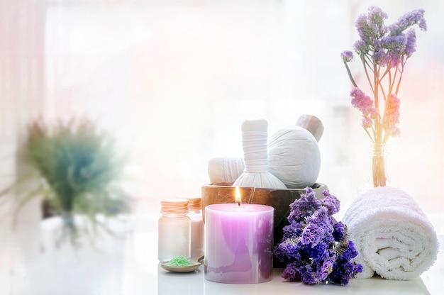 Spa treatments set on white table