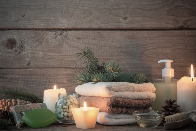 Spa treatments on wooden background