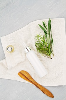 Spa and wellness composition with serum, towels and beauty products. wellness center, hotel, bodycare