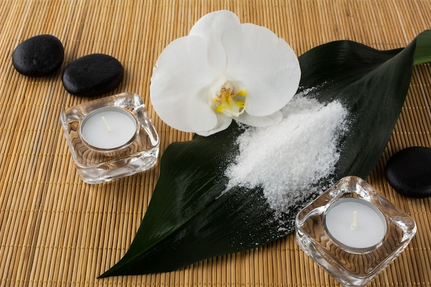 Spa and wellness concept with sea salt and orchid