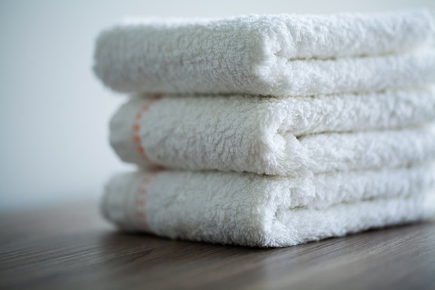 Spa. white cotton towels use in spa bathroom.