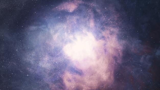 宇宙背景、数十億の星の星雲と銀河の間の宇宙飛行3 dイラストレーション
