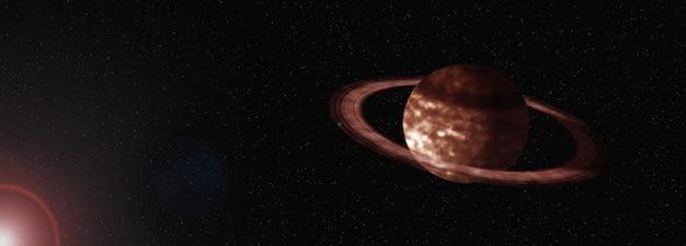 Космический баннер с изображением планеты на фоне сатурна сатурн с кольцами, освещенный звездой