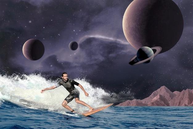 サーファーとの宇宙コラージュ