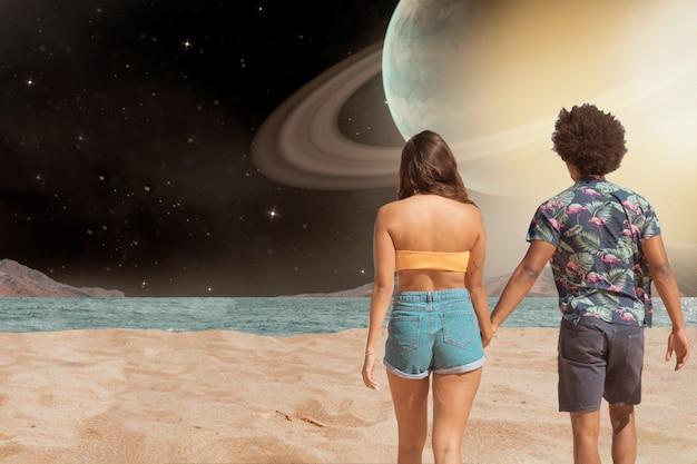 若いカップルとの宇宙コラージュ