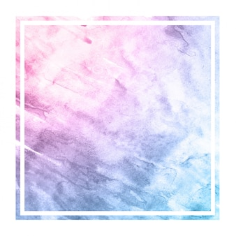 Space colors hand drawn watercolor rectangular frame background texture with stains