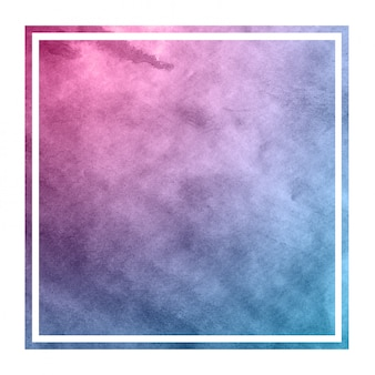 Space colors hand drawn watercolor rectangular frame