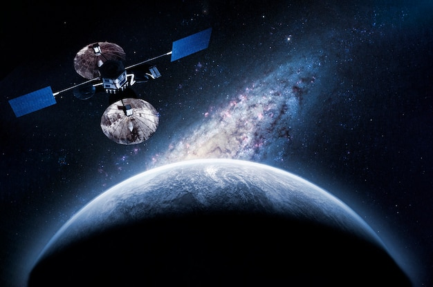 Space craft on the orbit exploring new planet, elements of this image furnished by nasa