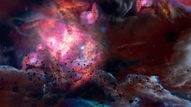우주 및 공상 과학 장면에서 광고 및 벽지를 위해 은하계 배경으로 날아가는 공간