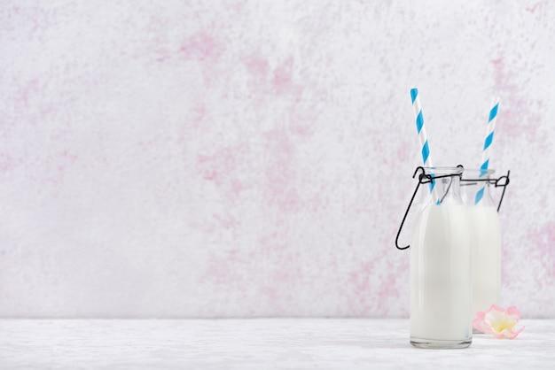 Space fresh milk in glass bottle food background