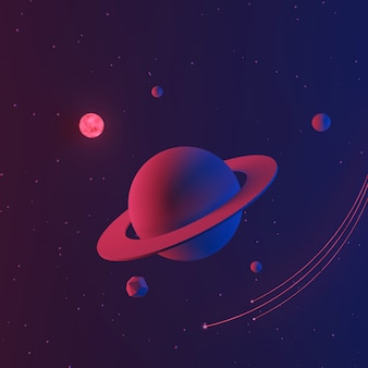 Space or galaxy background with planet and star, 3d illustration.