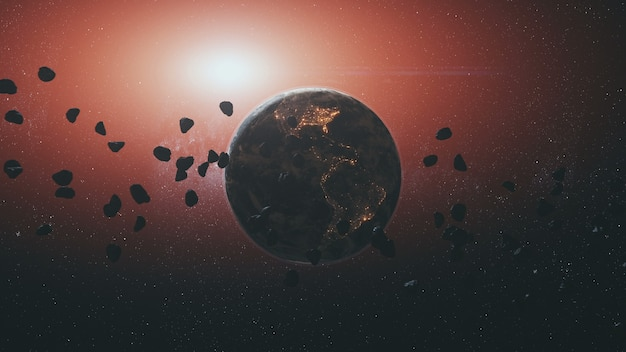 Space meteorites rocks silhouette against rotating earth planet by red sun light in outer space.