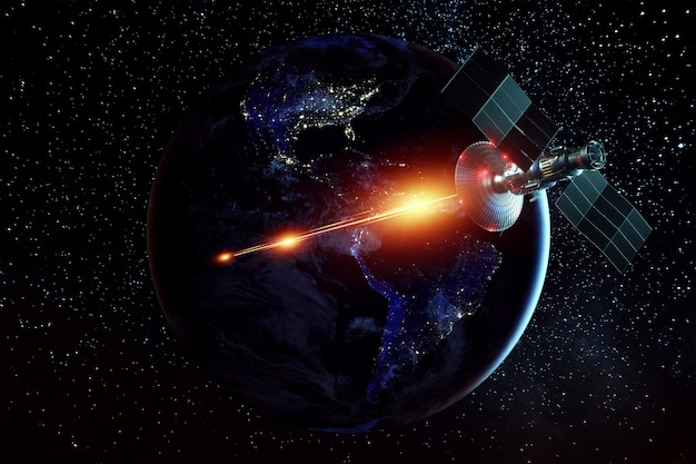 Space military satellite, a weapon in space shoots a laser against the wall of the earth. attack, technology, space war. mixed medium, copy space. image furnished by nasa.