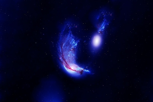 青の宇宙星雲。星のある青い空間。この画像の要素はnasaから提供されました。高品質の写真