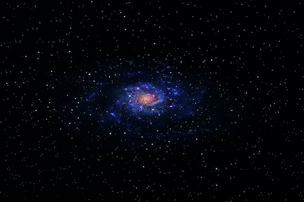 Космическая туманность синим цветом. голубое пространство со звездами.