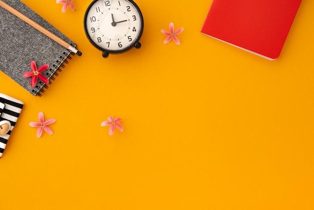 Space orange vintage notebook with clock