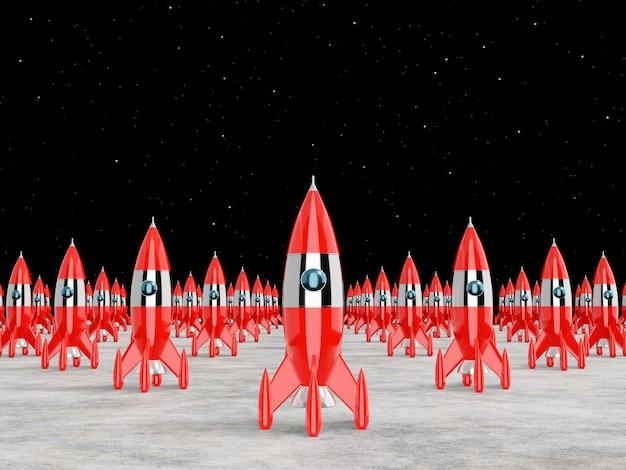 宇宙ロケット-成功、リーダーシップ、スタートアップ、ライバルのコンセプト。 3dレンダリング。