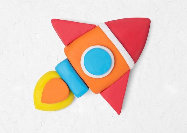 Icona di argilla razzo spaziale carina educazione artigianale creativa grafica
