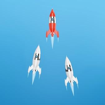 宇宙ロケット、成功のコンセプト、リーダーシップ、スタートアップ、ライバル