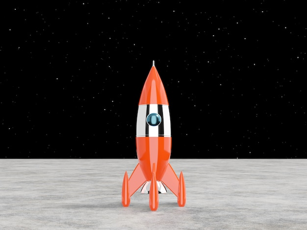 Space rocket - a concept of success, leadership, startup. 3d rendering.