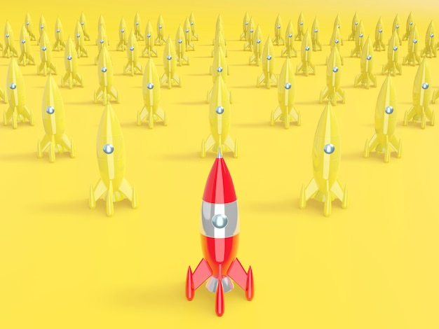 Space rocket, concept of success, leadership, startup, rivalry