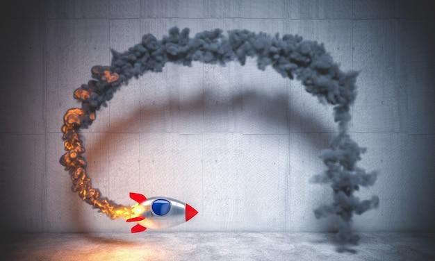Космическая ракета летит по кругу, образуя дымовой след. 3d визуализация. никого вокруг.