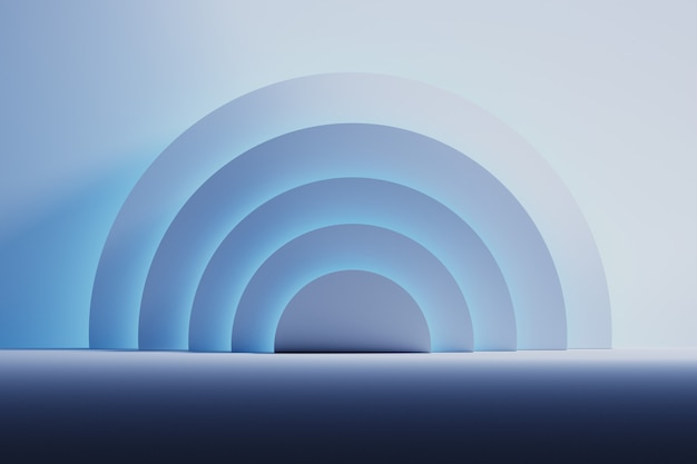 Space room with half circle shapes illuminated by gentle neon blue