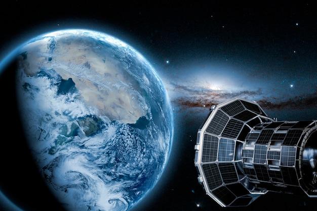 地球を周回する宇宙空間の宇宙衛星。 nasaãƒâã'â°によって提供されたこの画像の要素
