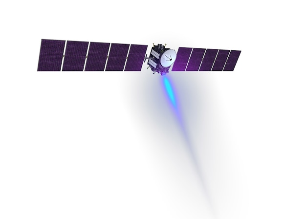 Space satellite isolated on a white background. elements of this image were furnished by nasa. for any purpose.