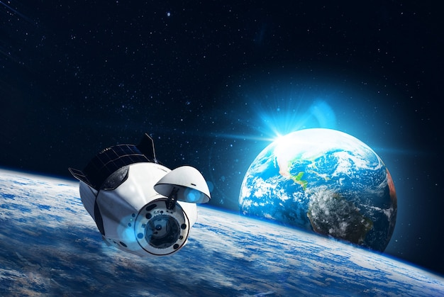 Space satellite station on orbit of the earth planet elements of this image furnished by nasa