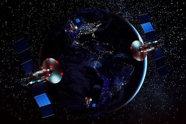 Космический спутник с антенной и солнечными батареями в космосе у стены земли. телекоммуникации, скоростной интернет, освоение космоса. смешанная среда. изображение предоставлено наса