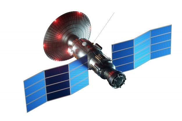 Космический спутник с антенной блюдо и солнечных панелей, изолированных на белой стене. телекоммуникации, скоростной интернет, зондирование, освоение космоса. 3d представляют, 3d иллюстрация, космос экземпляра.