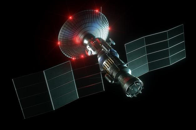 접시 안테나와 검은 벽에 고립 된 태양 전지 패널 공간 위성. 통신, 초고속 인터넷, 소리, 우주 탐사. 3d 렌더링, 3d 일러스트, 복사 공간.