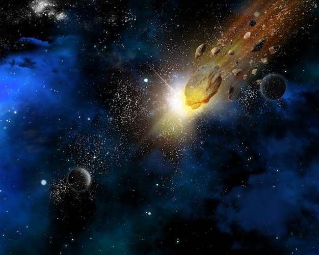 Space scene background with meteorites
