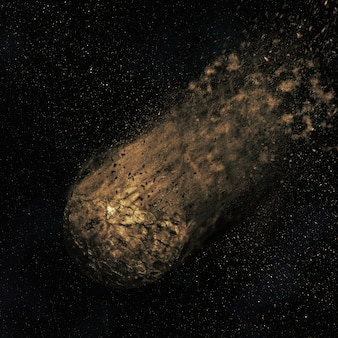 Space scene with an asteroid