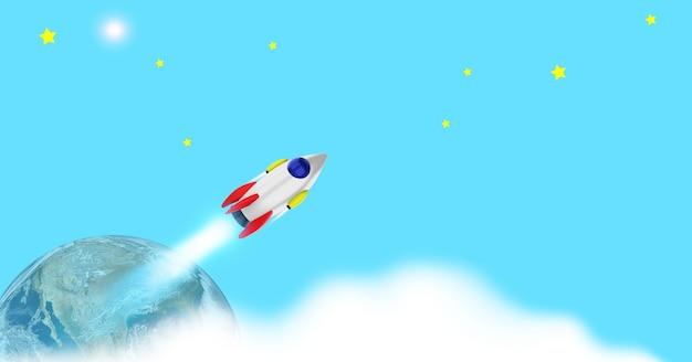 지구 위의 열린 공간에서 우주 왕복선 발사. 비즈니스의 우주선 개념에서 바다와 하늘입니다. . 3d 렌더링(nasa의 세계 요소 이미지)