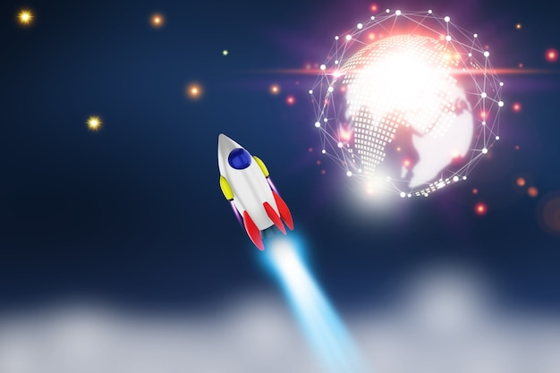 지구 위의 열린 공간에서 우주 왕복선 발사. 비즈니스의 우주선 개념에서 바다와 하늘입니다. . 3d 렌더링
