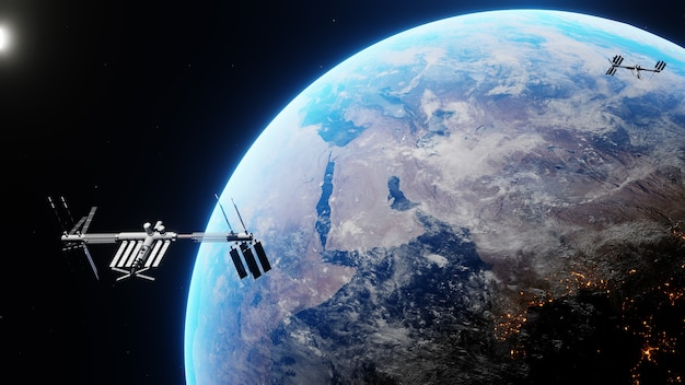 Space shuttle and space station orbiting realistic planet earth