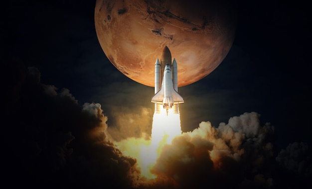 Space shuttle takes off to mars. elements of this image furnished by nasa.