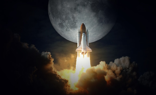 Space shuttle takes off to the moon