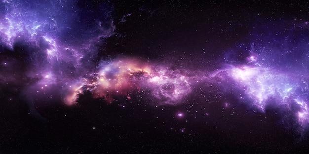 Космическое звездное небо с красивыми туманностями на 3d иллюстрации