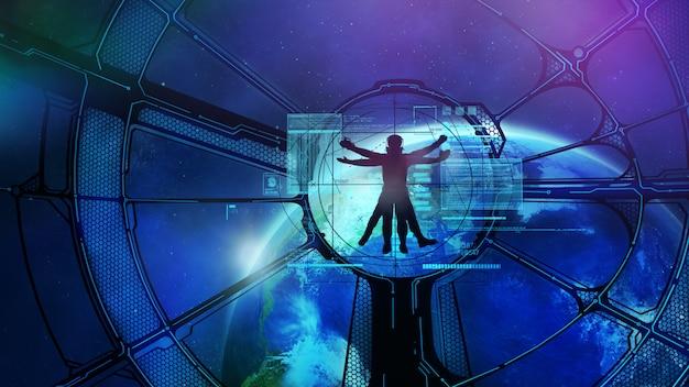 Космическая станция на орбите, витрувианский космонавт. 3d иллюстрация