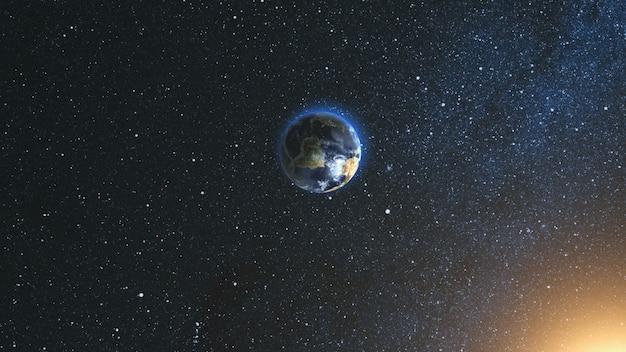 우주에서 지구와 태양에 공간보기